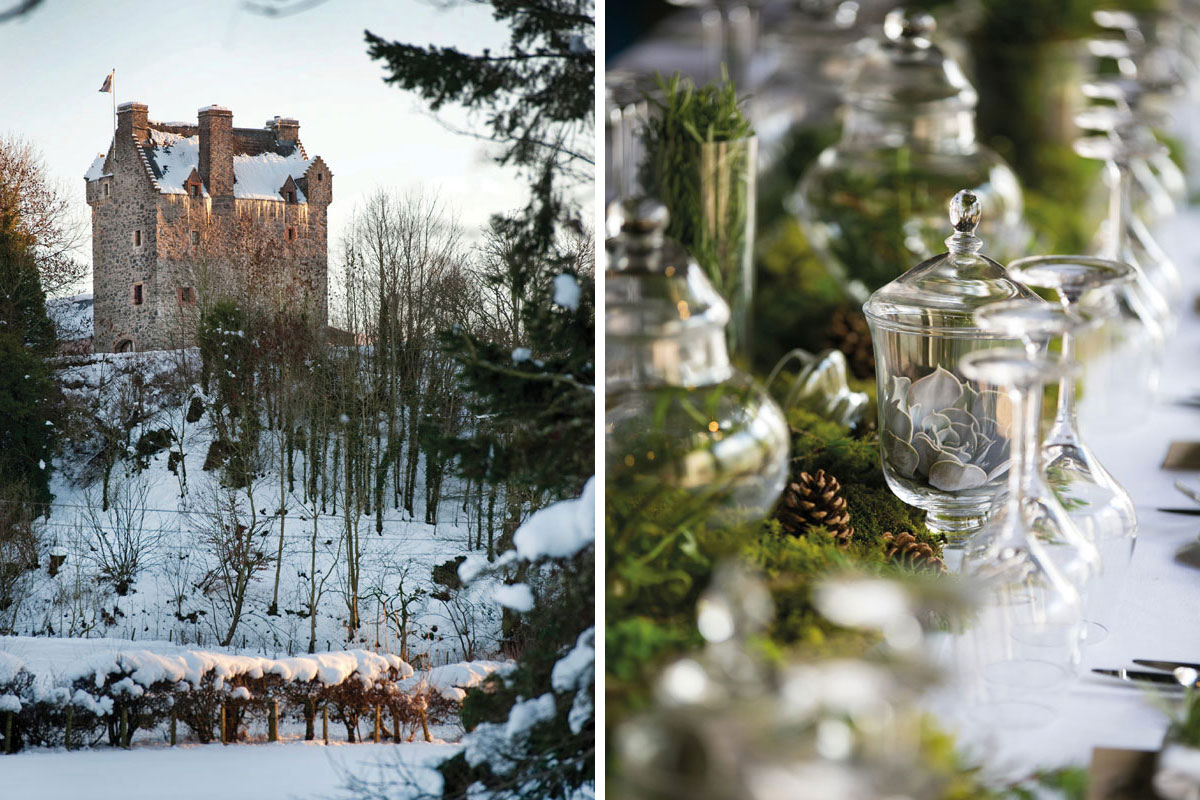 Aikwood Tower in the snow and table setting