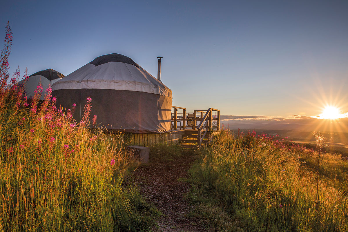 Sunset outside yurts at Alexander House near Auchterarder