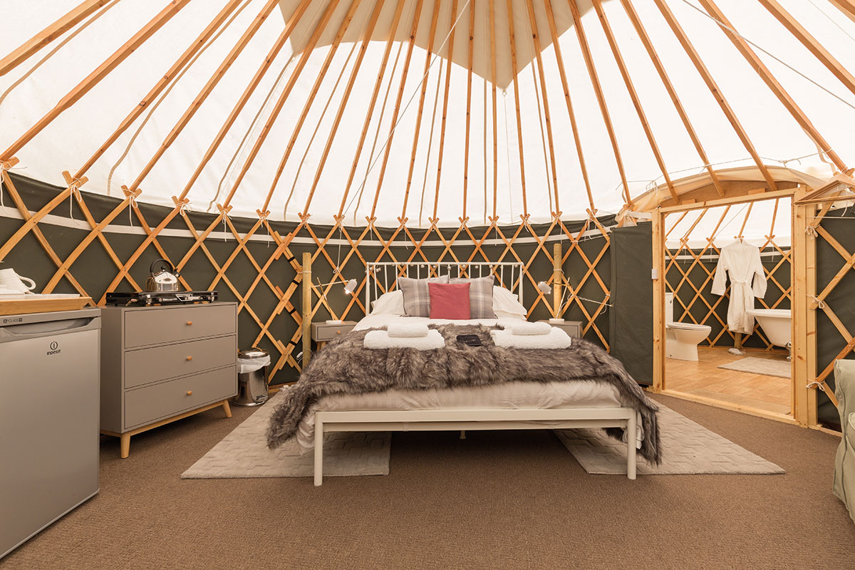 Inside Heather yurt at Alexander House in Perthshire