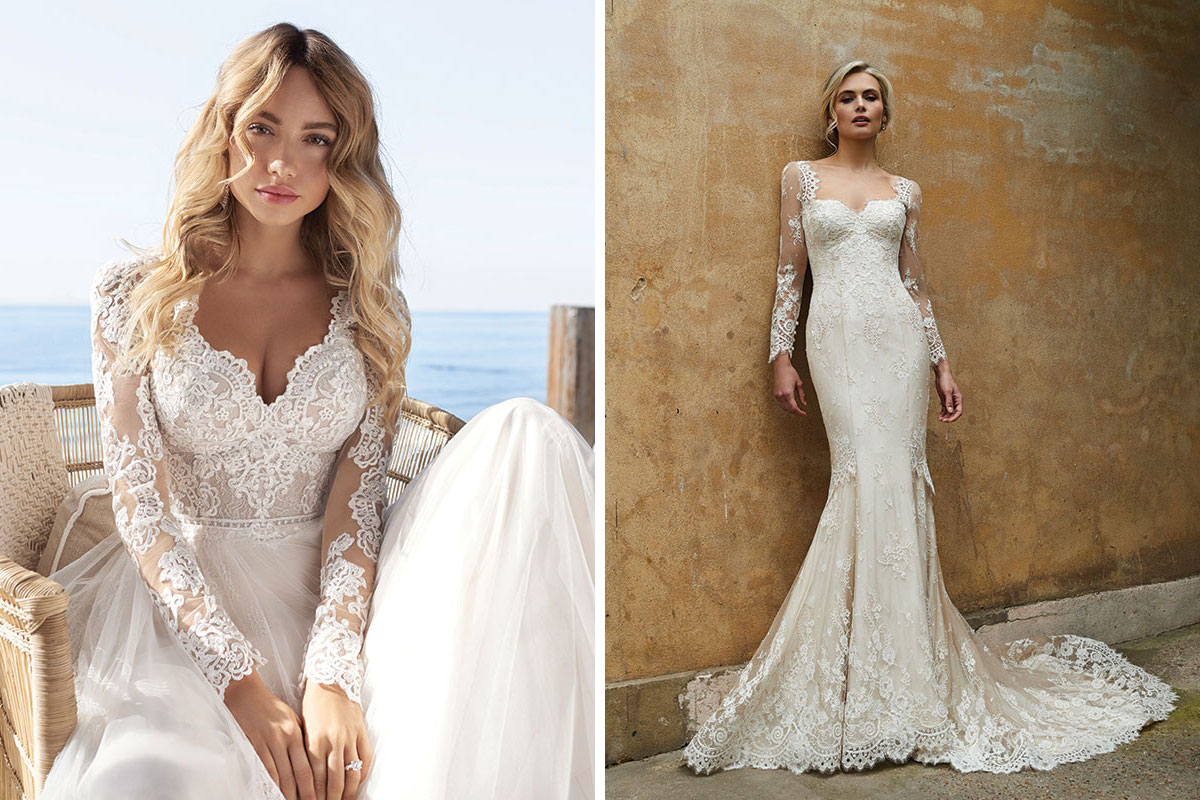 Amy King Bridal Rebecca Ingram wedding dress and Sassi Holford lace wedding dress