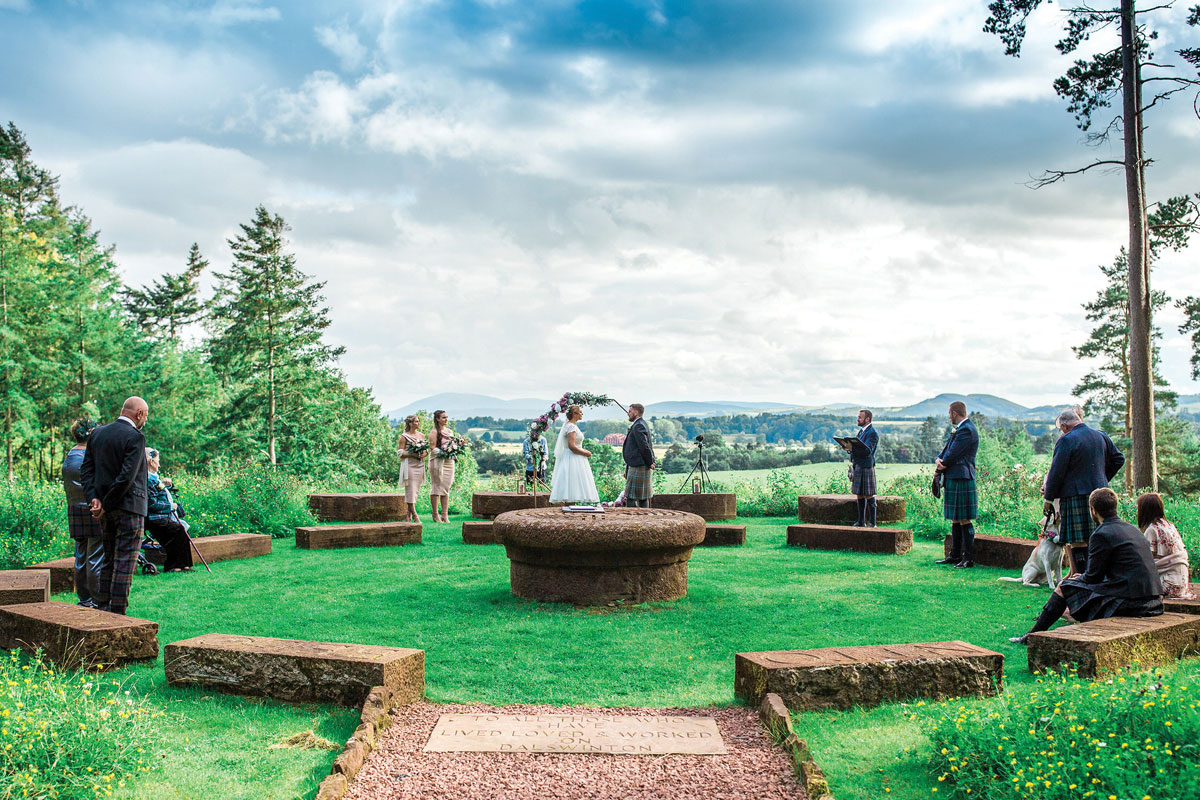 Socially distanced wedding ceremony at Dalswinton Estate