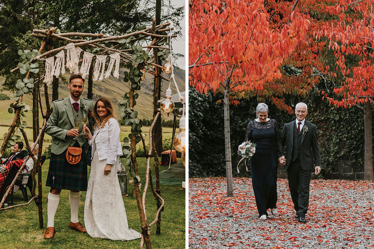 Glen Clova Hotel Covid bohemian wedding by Natalie Holt Photography and Iris Art Photography autumn wedding of older couple at Norton House Hotel