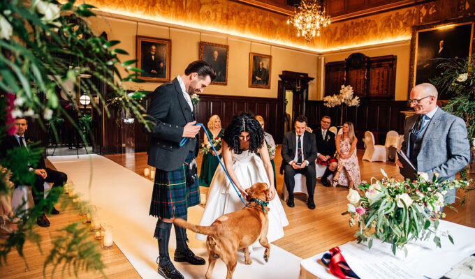 Covid wedding ceremony with dog at Trades Hall of Glasgow