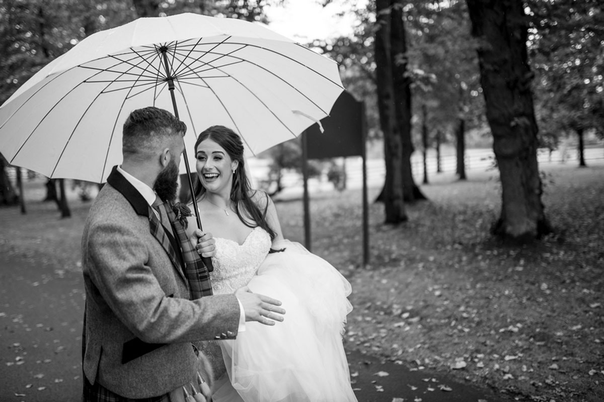 CameraShy Photography Carlowrie Castle wedding bride and groom with umbrella