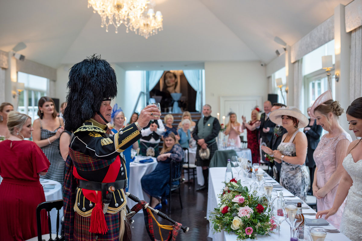 GD Bagpiping making toast Carlowrie Castle