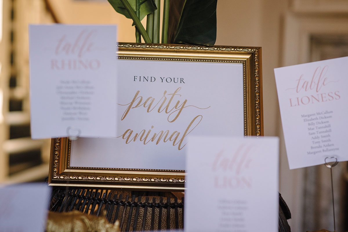 Find Your Party Animal wedding sign in frame