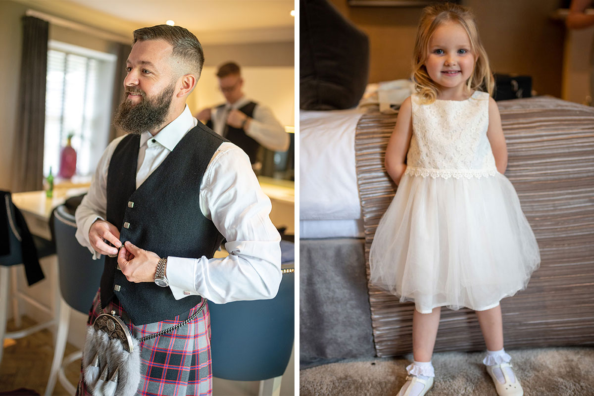 CameraShy Photography Carlowrie Castle wedding Groom getting ready and flower girl