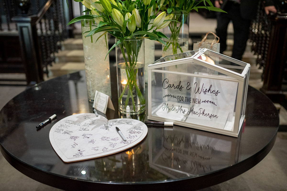 wedding guest book and glass box