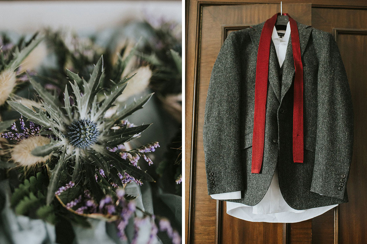 Thistle wedding bouquet and Walker Slater suit