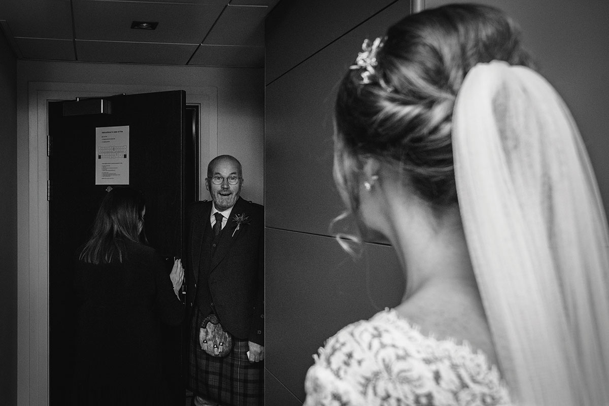 father of bride seeing bride for first time on wedding morning