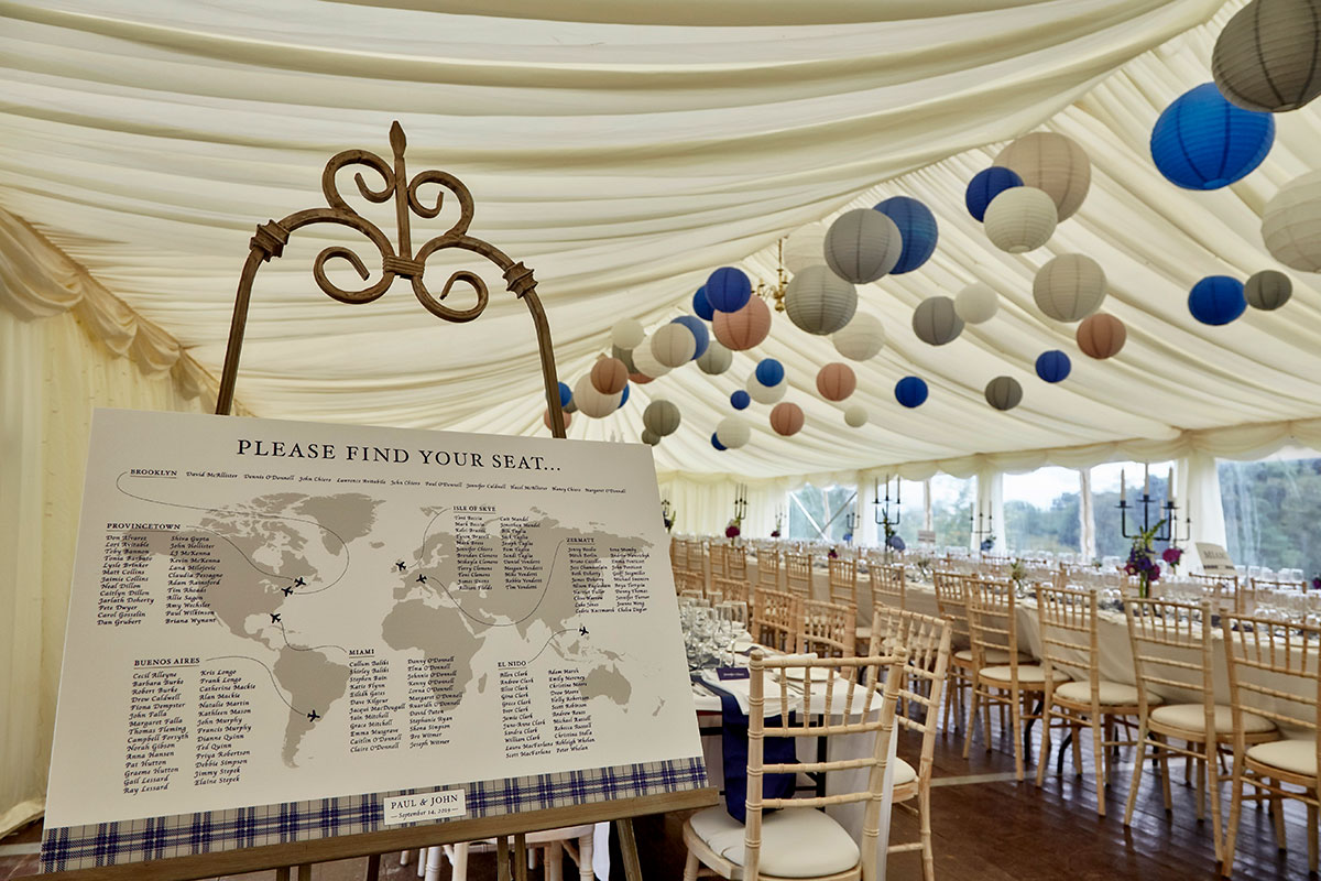 wedding seating plan at marquee at Neidpath Castle