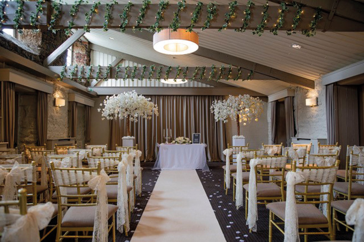 The Bowfield Hotel and Coutry Club set for a wedding ceremony