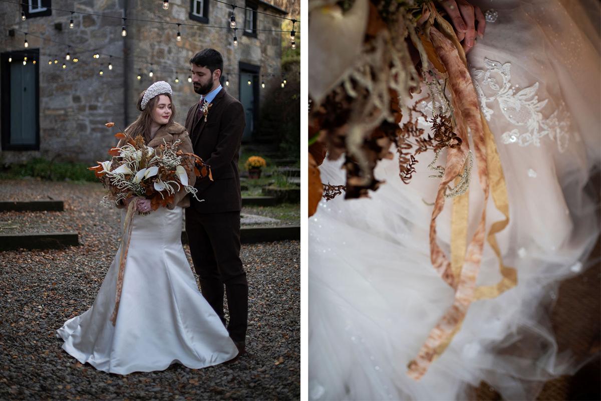 bride and groom in courtyard and bouquet's trailing ribbons