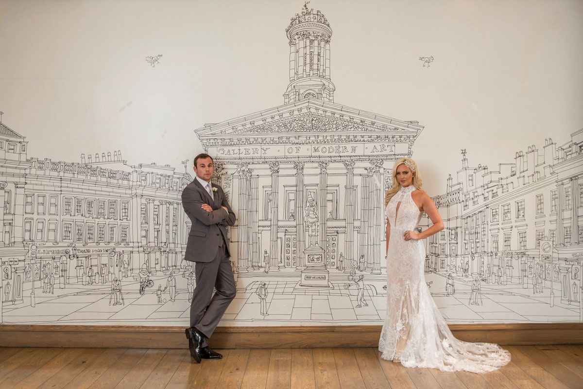 Bride and groom at The Corinthian Club in Glasgow