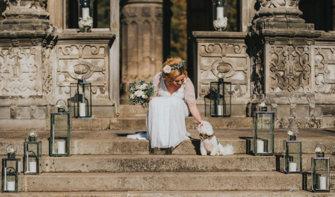 Bride and dog at The Restoration Yard Orangerie wedding venue