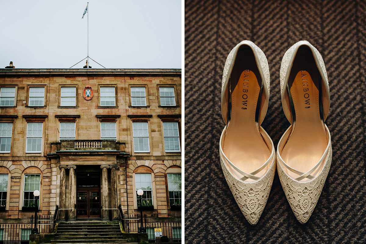 exterior of Kimpton Blythswood Square Hotel Glasgow and Rainbow Club wedding shoes