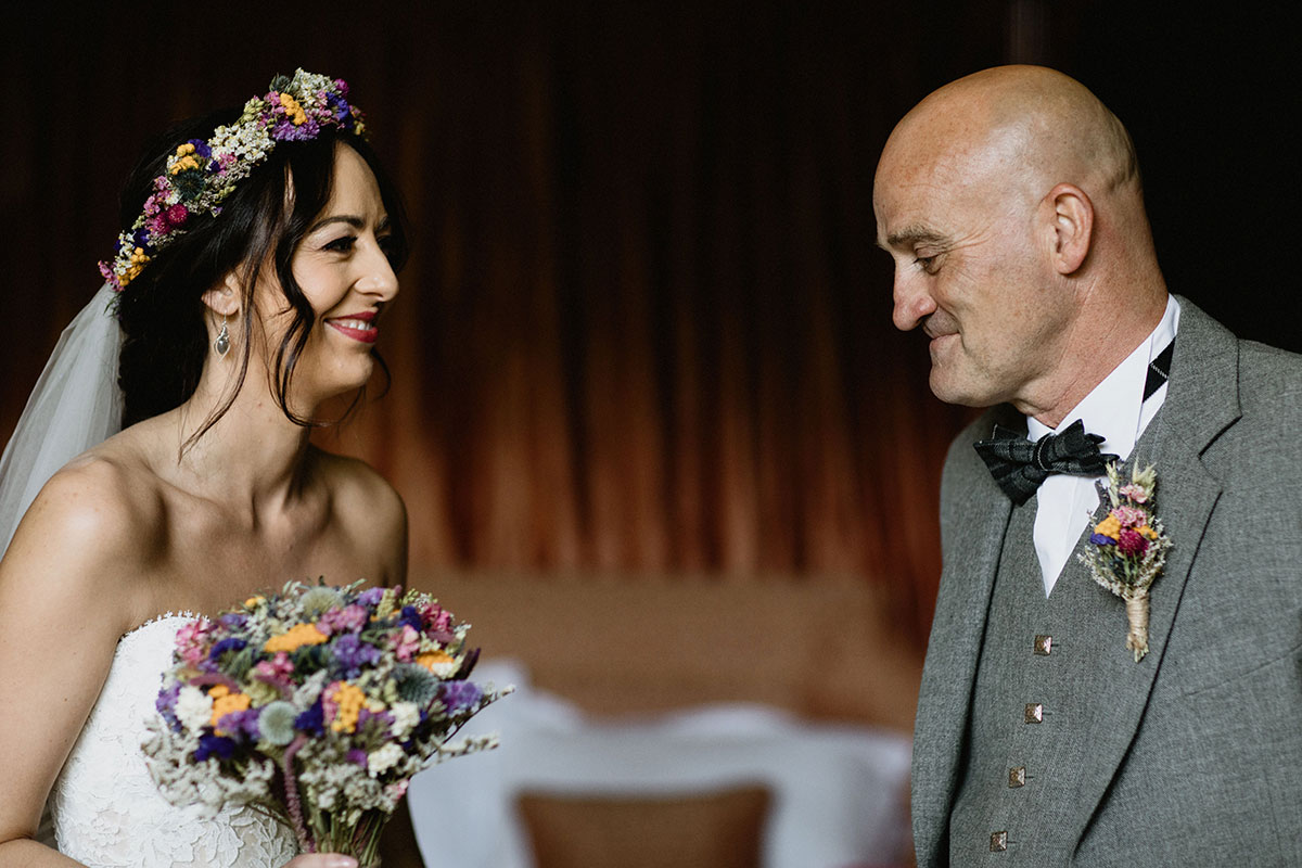 bride and dad first look on wedding morning at Cambo House