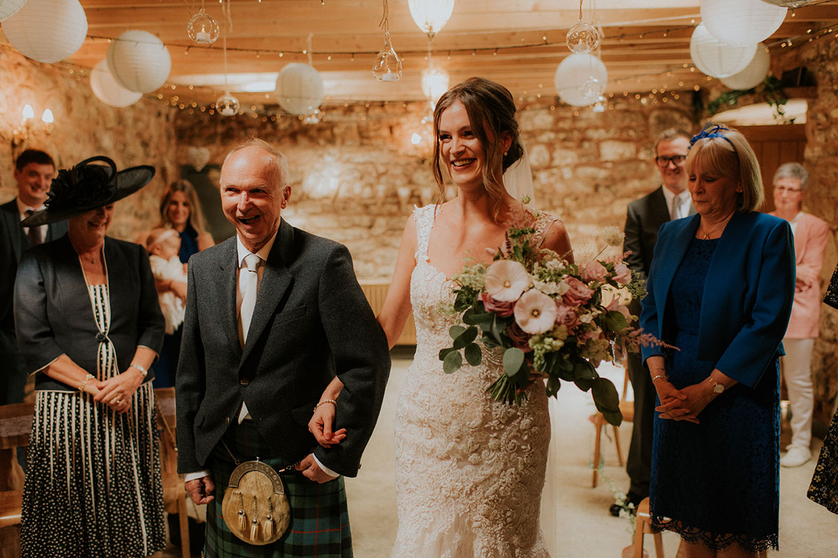 bride being given away by dad at fruin farm
