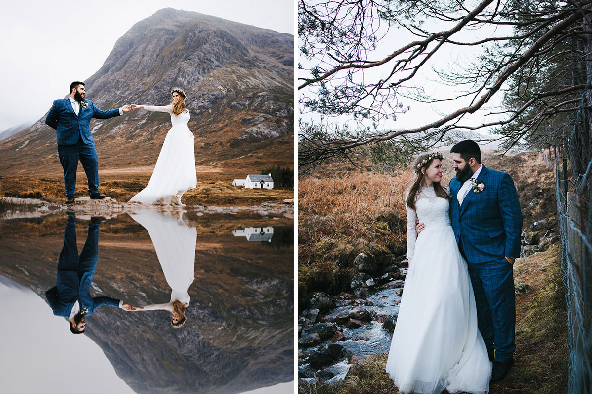 bride and groom Glencoe elopement