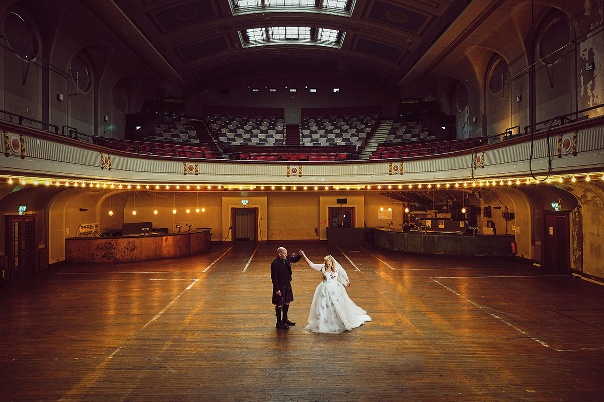 bride and groom dancing in Leith Theatre