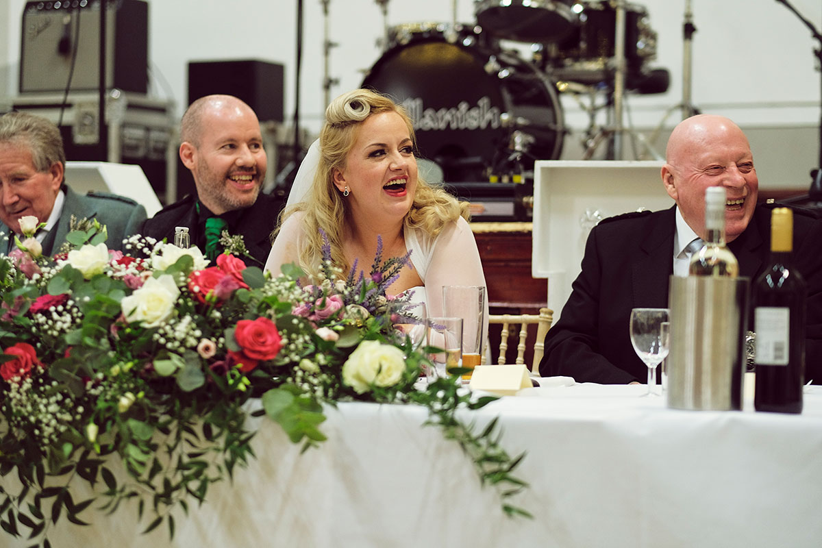 top table wedding speeches at Leith Theatre