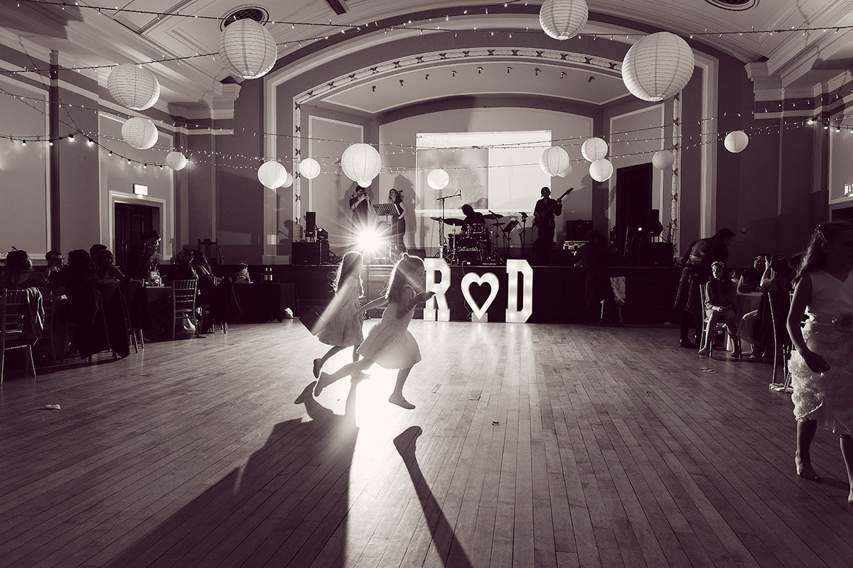 dance floor at Leith Theatre with flower girls running
