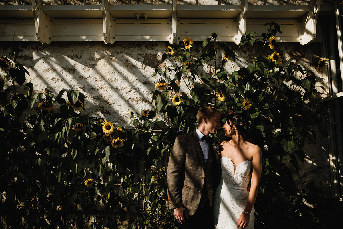bride and groom in sunshine and shade with sunflowers