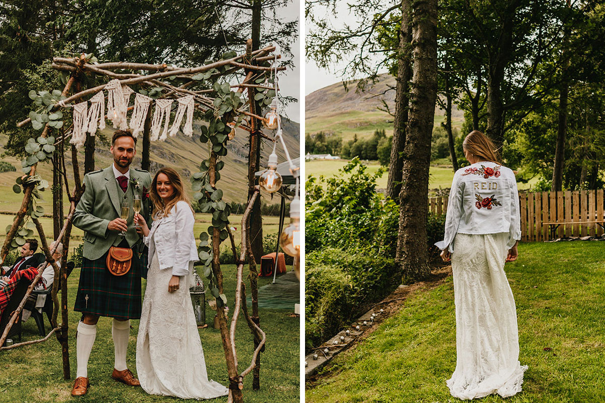 bride and groom under macrame wooden frame toasting with champagne