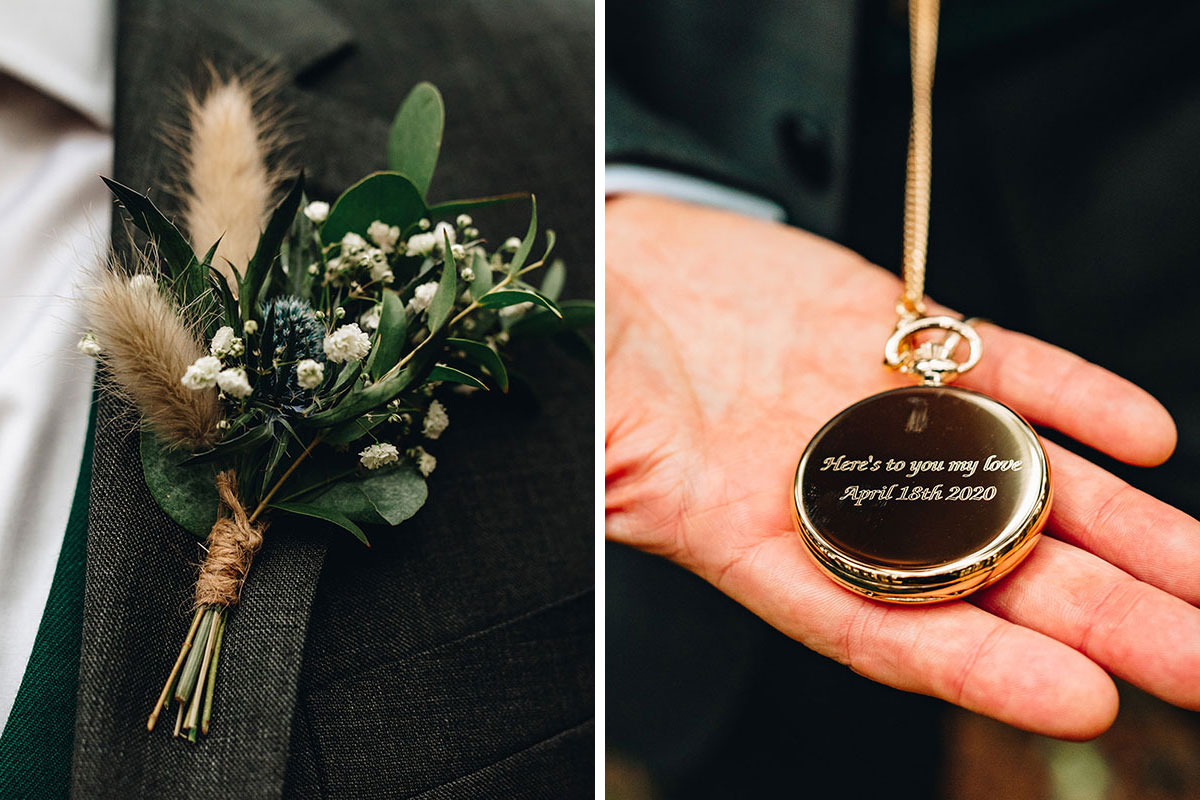 grooms buttonhole by Betty Bluebell and personalised gold pocket watch