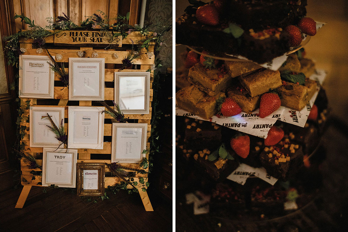 wooden pallet wedding seating plan and brownie stack alternative wedding cake