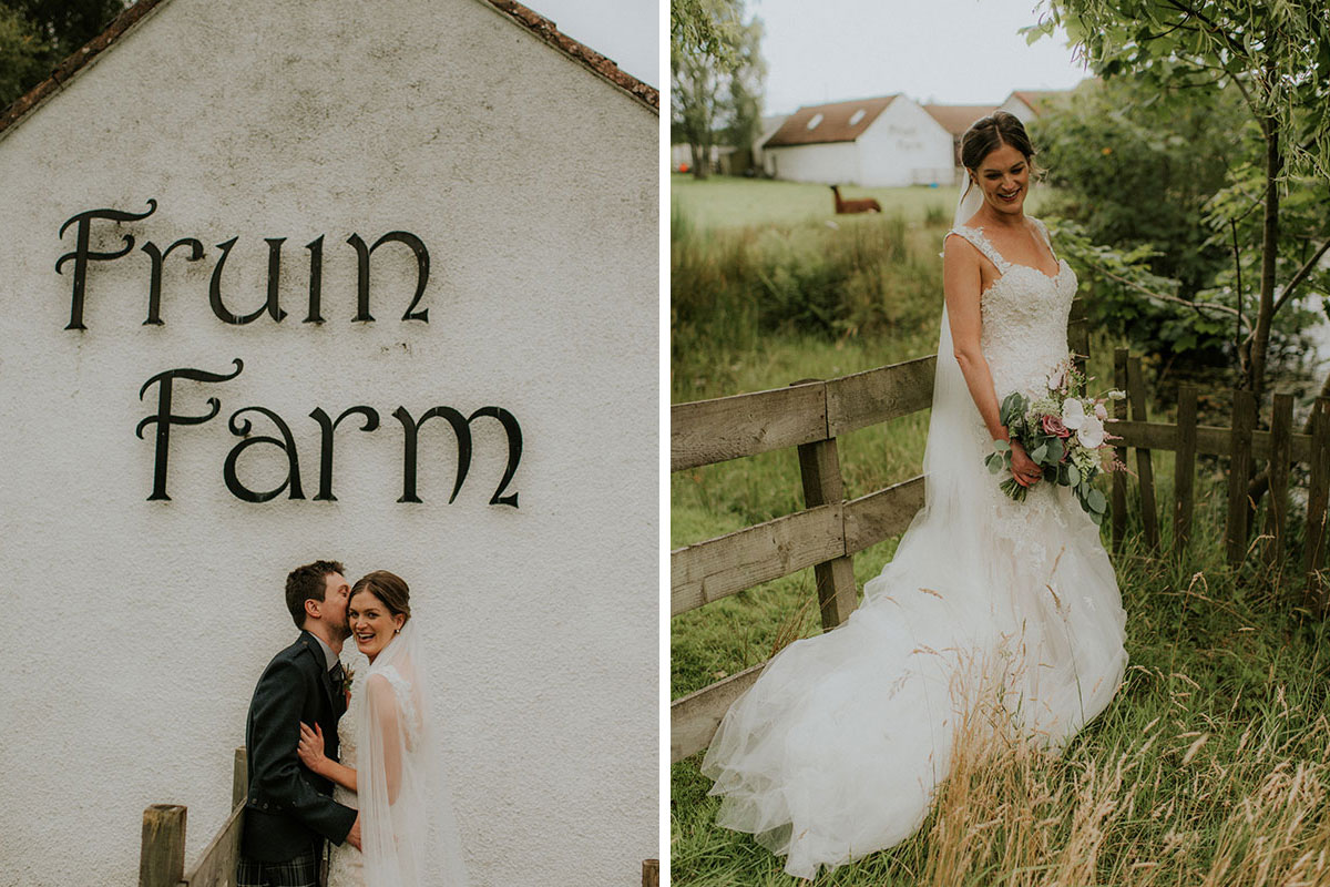 bride and groom kissing outside fruin farm and bride in field