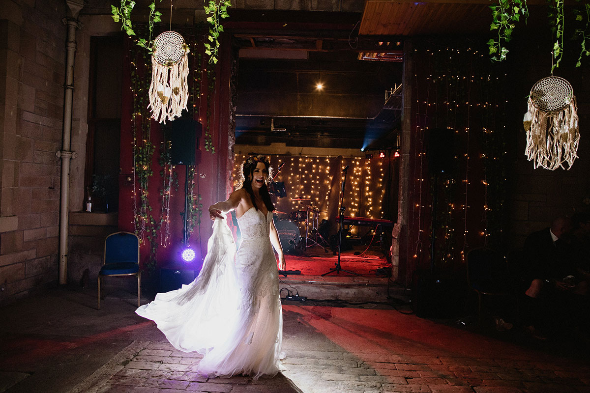 bride on dance floor at Cambo House