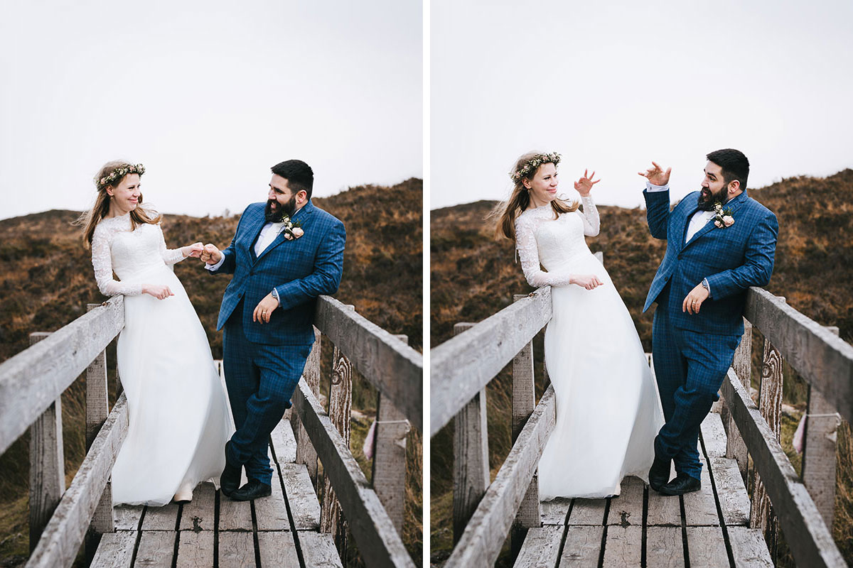 bride and groom fist pumping on bridge in Glencoe