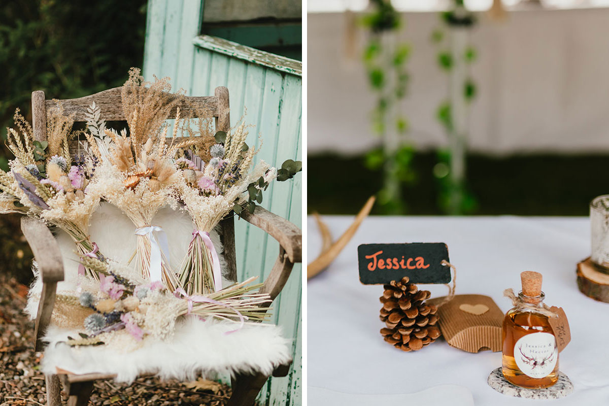 dried grass wedding bouquets and pine cone and whisky place setting at wedding
