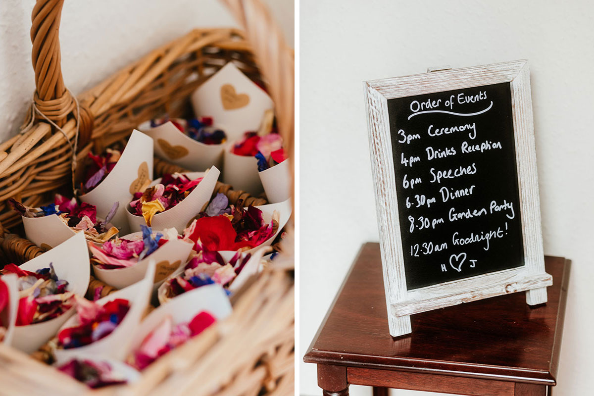 wicker basket containing rose petal confetti and framed blackboard with wedding running order
