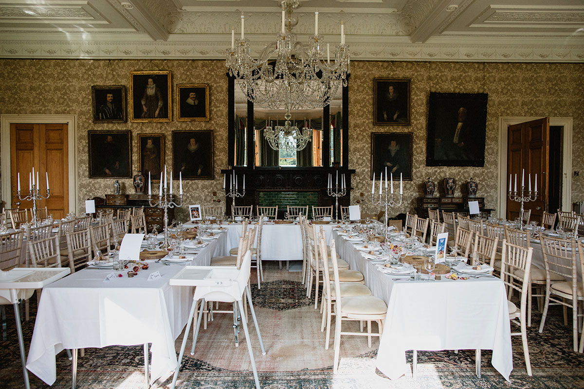 Cambo House set for a wedding dinner