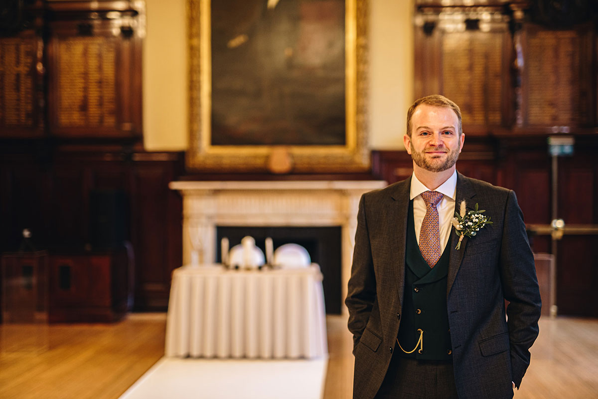 groom waiting before wedding ceremony at Trades Hall Glasgow