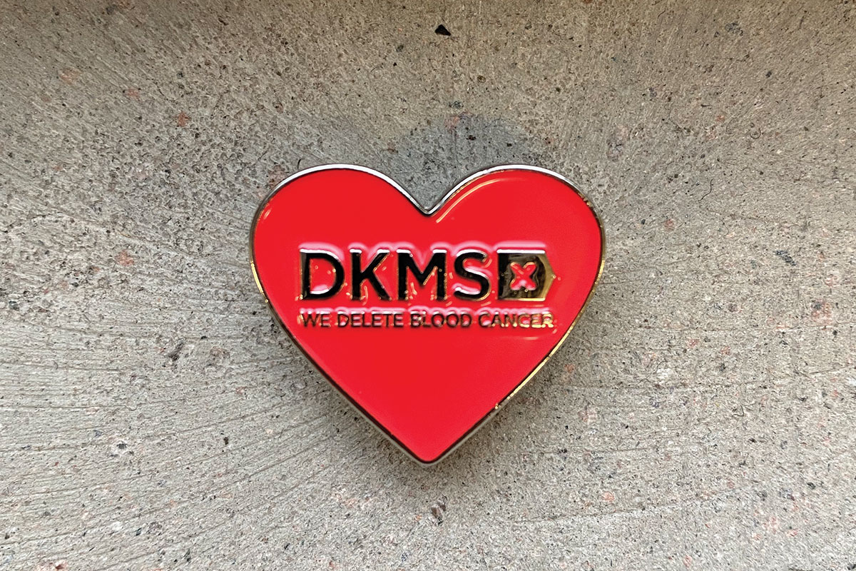DKMS We Delete Blood Cancer red heart wedding favour pin badge