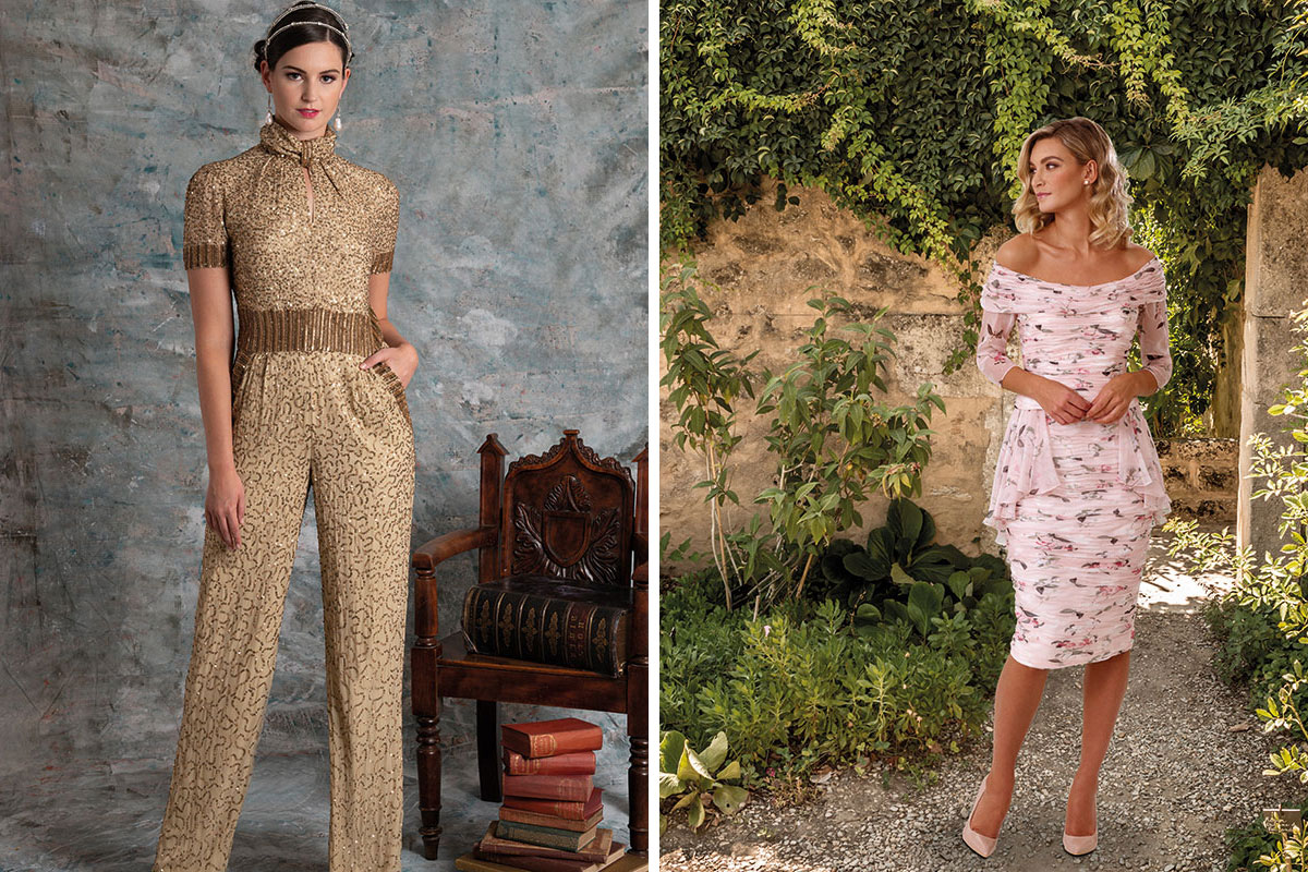 Gold jumpsuit by Gill Harvey and floral dress by Ian Stuart for Veromia Irresistible both from Frox of Falkirk