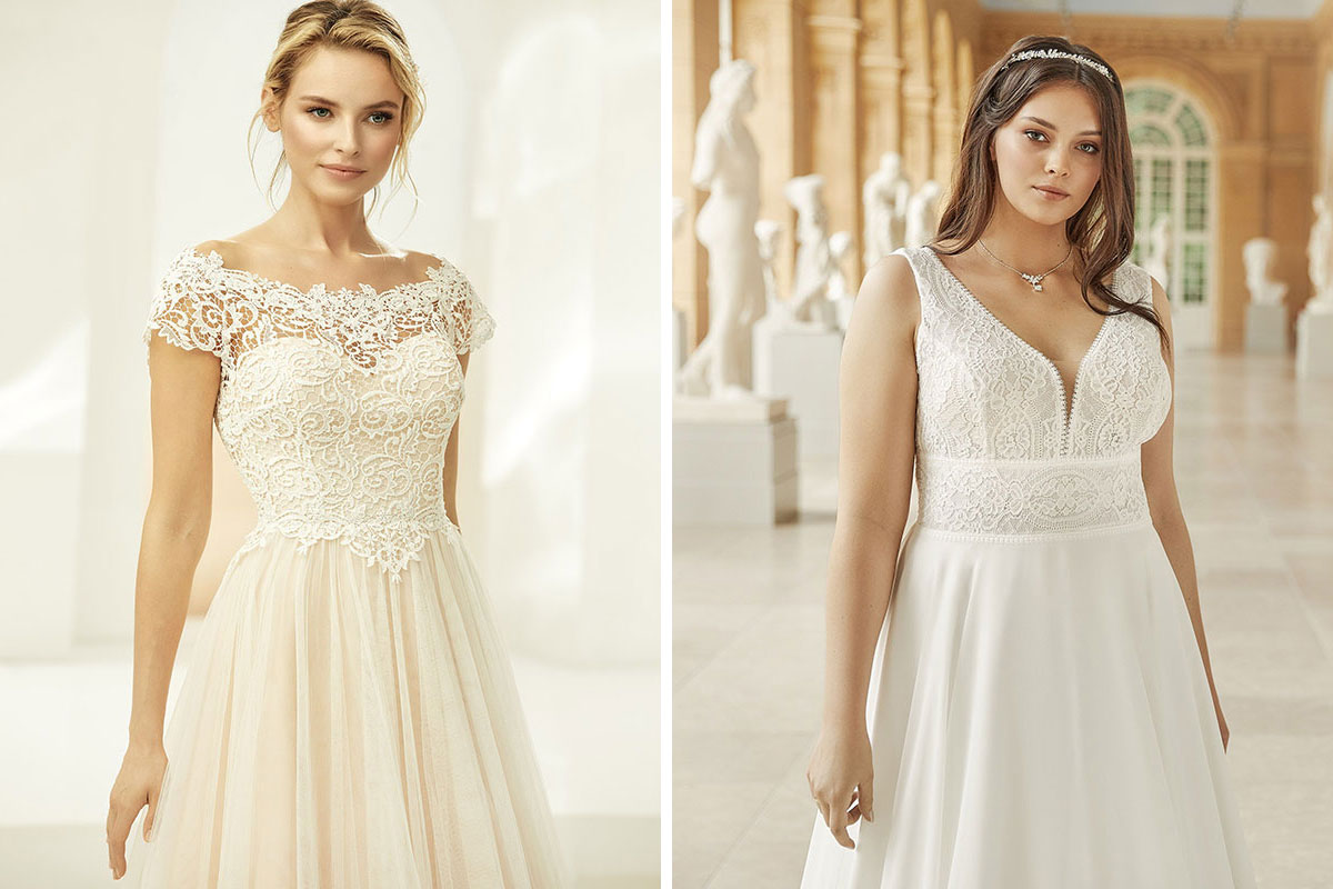 Two wedding dresses by Bianco Evento from Innate Bridals in Dundee
