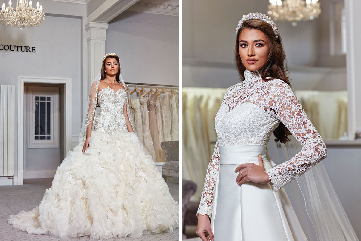Bride wearing dresses by Kavelle Couture