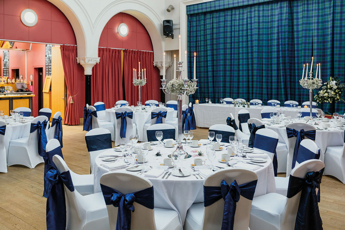 Wedding reception dinner set-up at The National Piping Centre in Glasgow