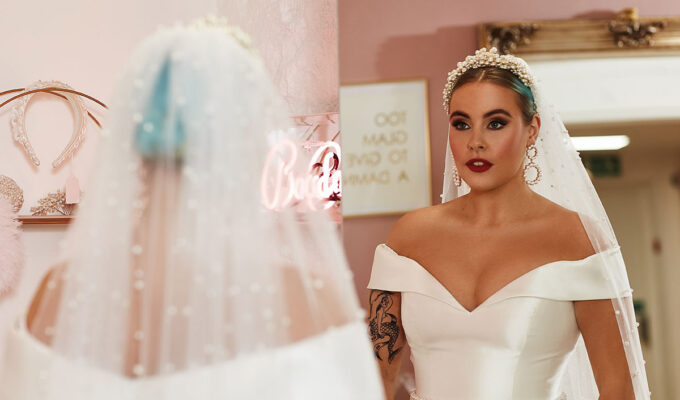 Bride wearing wedding dress from Amy King Bridal and Beauty
