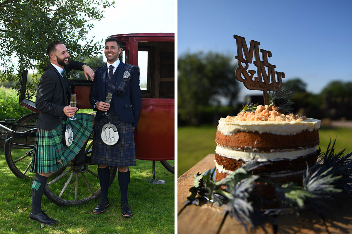 two newlywed grooms wearing Highlandwear smiling outdoors at The Gathering and naked Mr and Mr sponge wedding cake