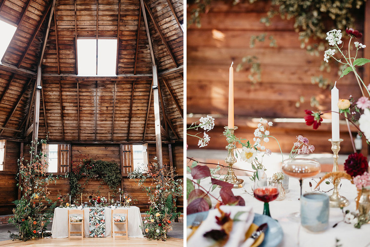 The Mart East Lothian wedding venue styled for a wedding
