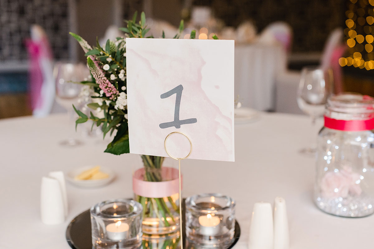wedding table number and decoration at the Waterside Hotel Inverness