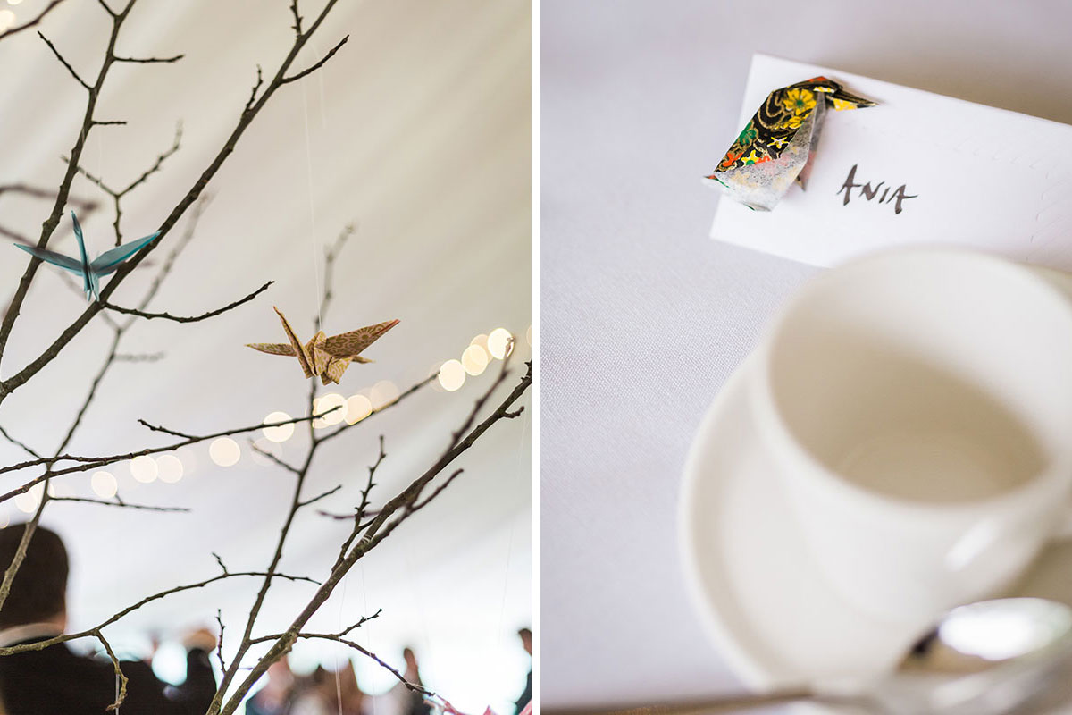 branches at wedding decorated with origami cranes and bird pin-badge wedding favour