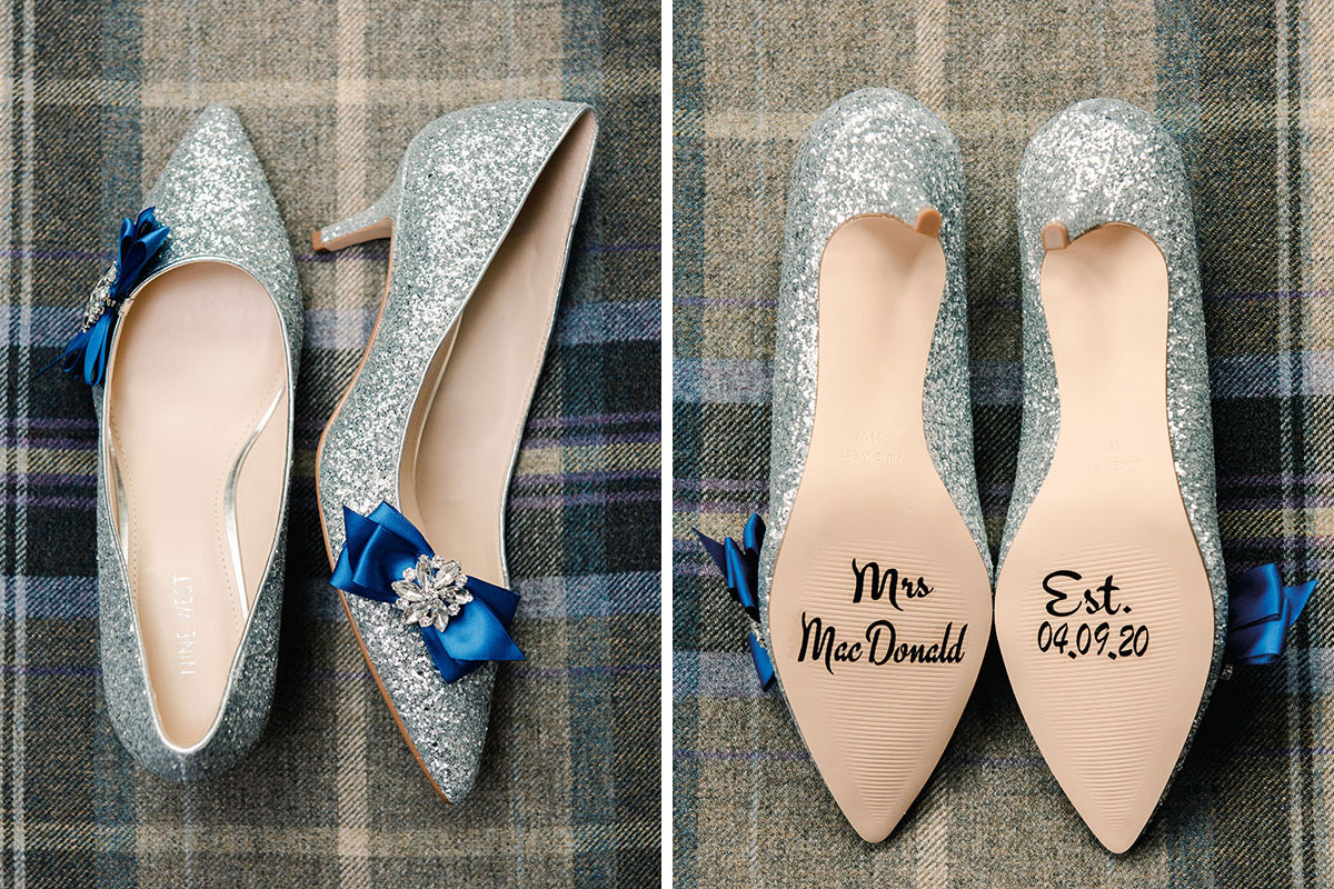 silver glitter wedding shoes with personalised sole