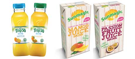 Tropicana, the UK's biggest-selling chilled juice brand, has launched Trop50, a fruit juice drink with half the calories and half the sugar of regular juice.  Fruit juice, smoothie and juice drink brand Sunmagic launched four new products  – Mango Juice Drink, Passion Fruit Juice Drink, Pineapple & Coconut Juice Drink, and Pomegranate Juice Drink. The £1.59 RRP  products come in one-litre recap packs.