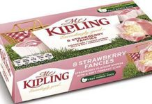 TO get shoppers in the mood for Wimbledon and strawberries and cream, Mr Kipling has a new summery, limited-edition cake. Strawberry Fancies are light sponges with a vanilla topping, beneath soft strawberry-flavoured icing. The new line's pink packaging features a picnic basket on lush grass.